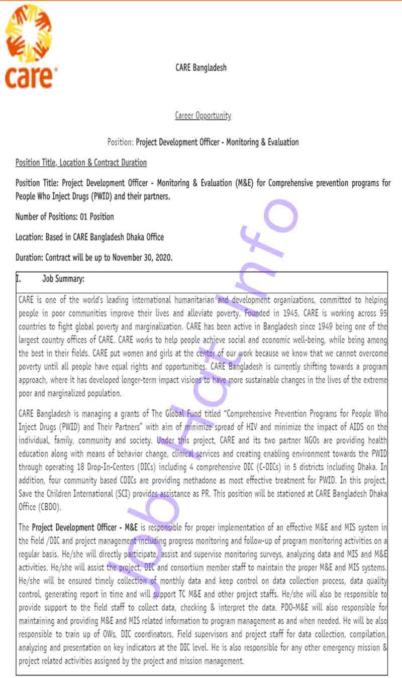 Project Development Officer Job- Care Bangladesh 1