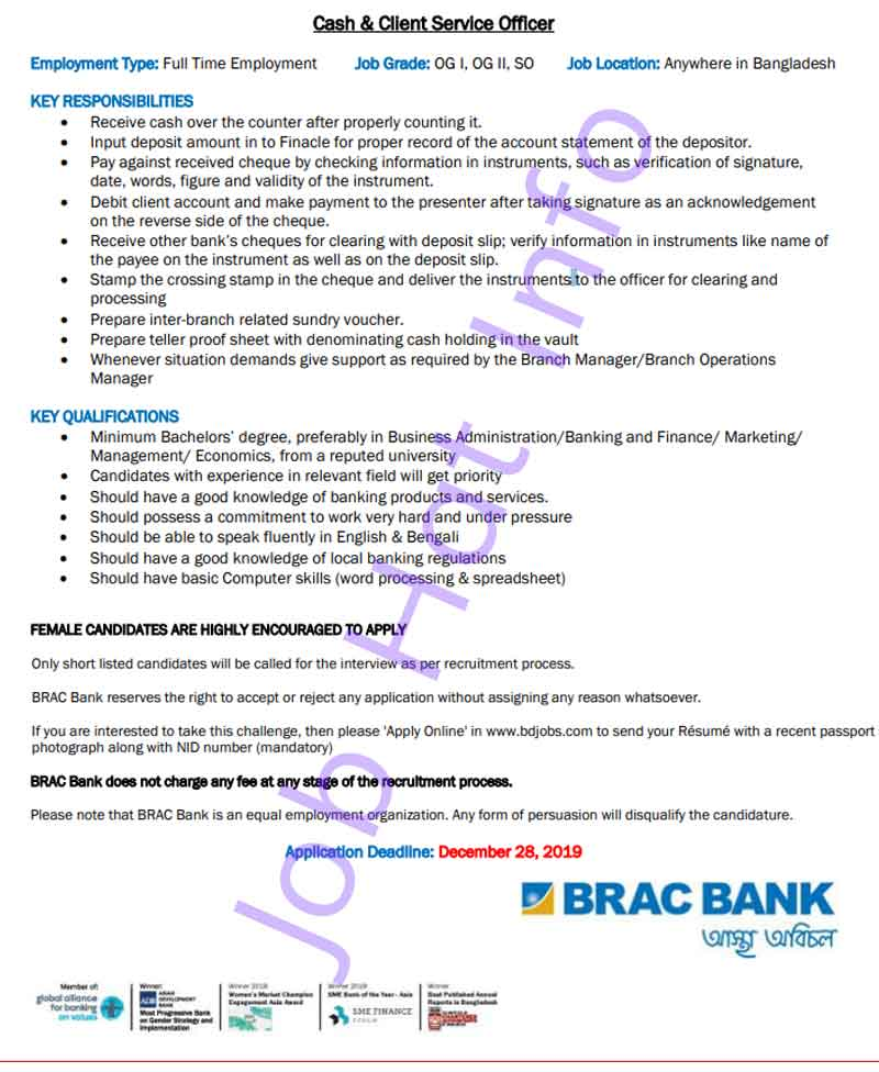 Cash and Client Service Officer at BRAC Bank 1