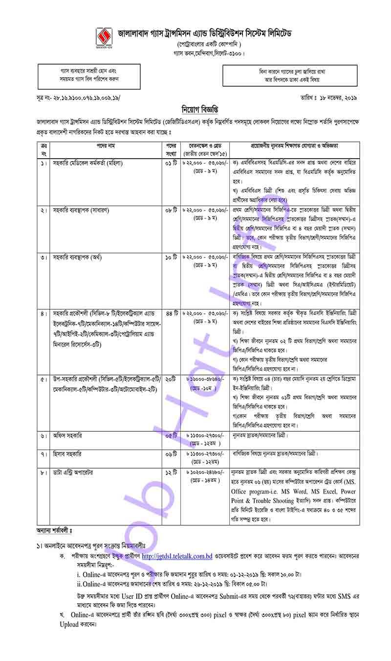 JGTDSL job circular 2020 1