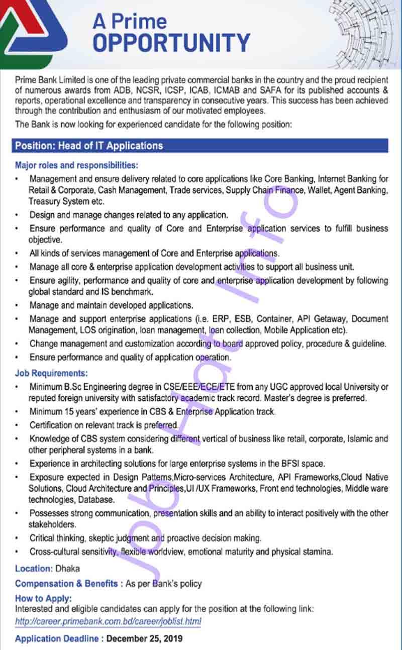 Head of IT Application Job at Prime Bank 1