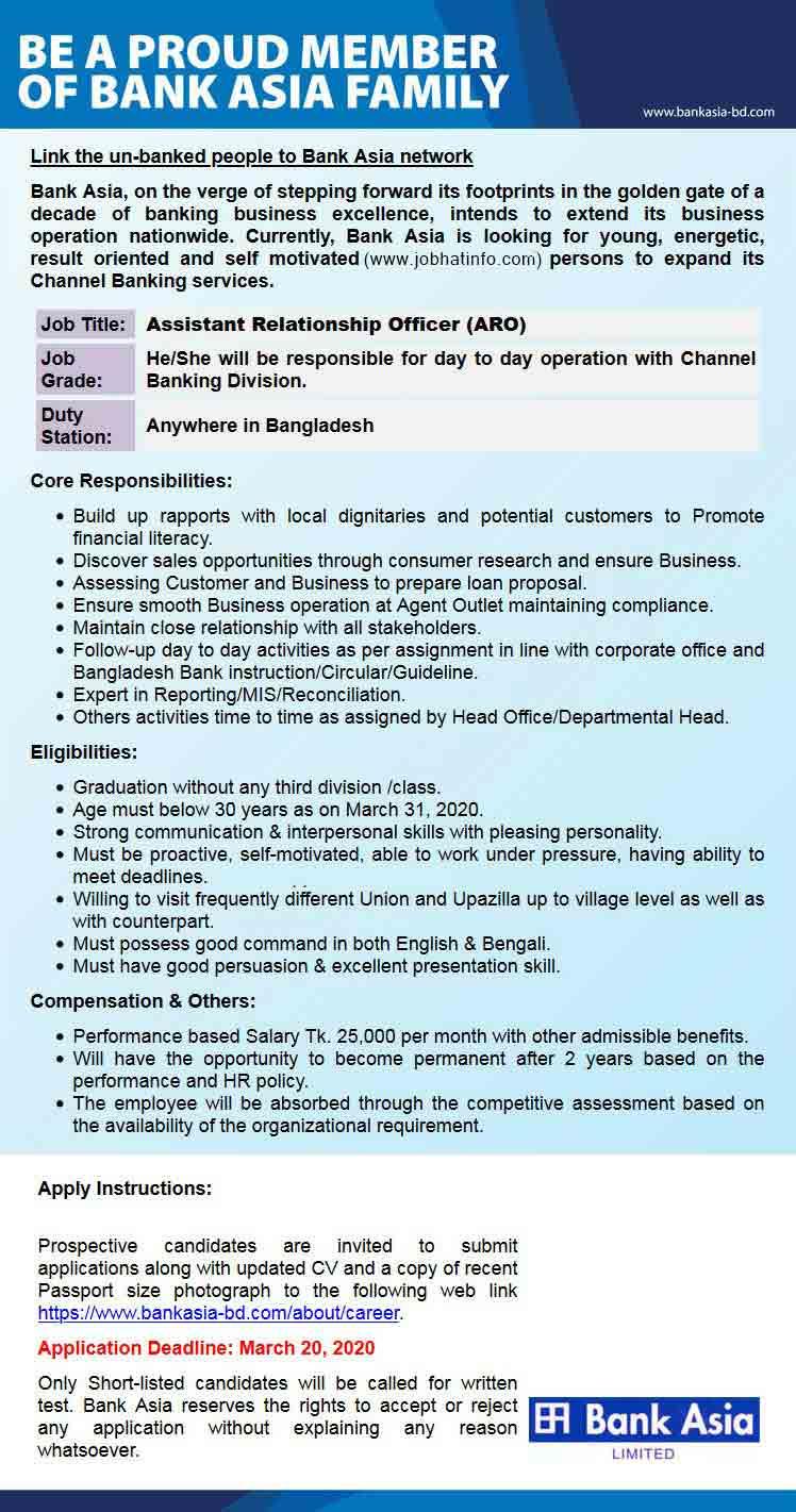 Job Circular at Bank Asia Limited 1