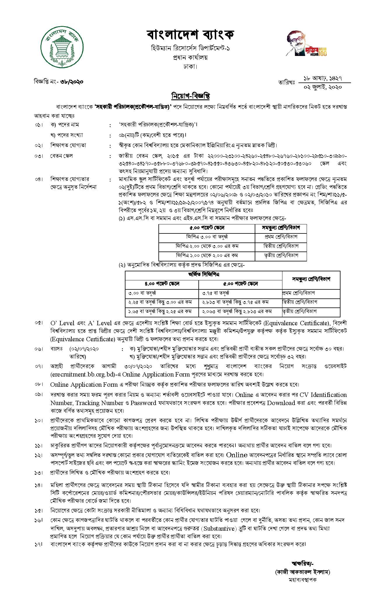 Bangladesh Bank Published Job Circular 2020 1