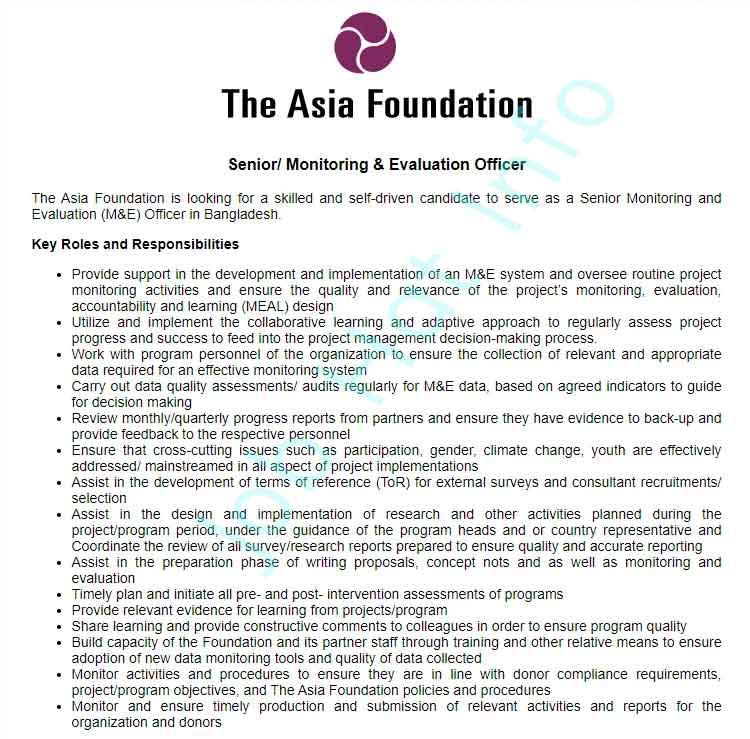 Asia Foundation Published Job Circular 1