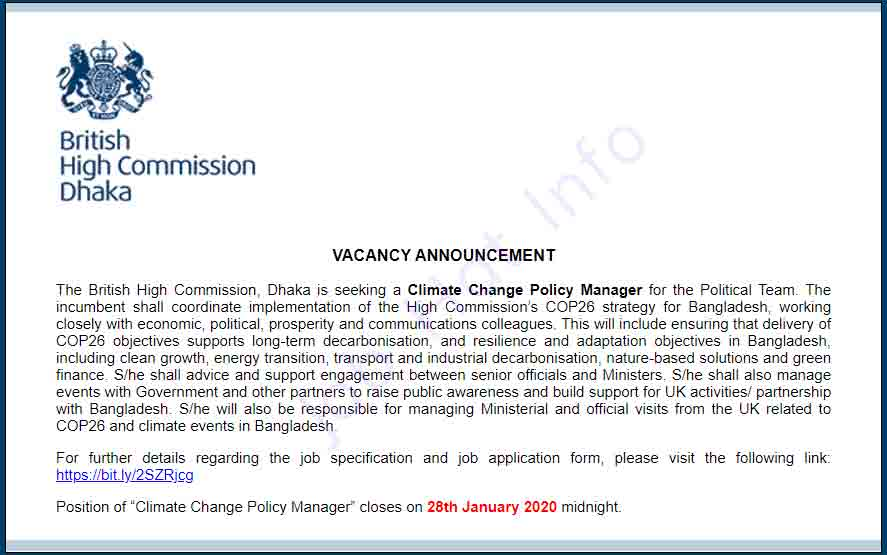 Job Circular at British High Commission 2