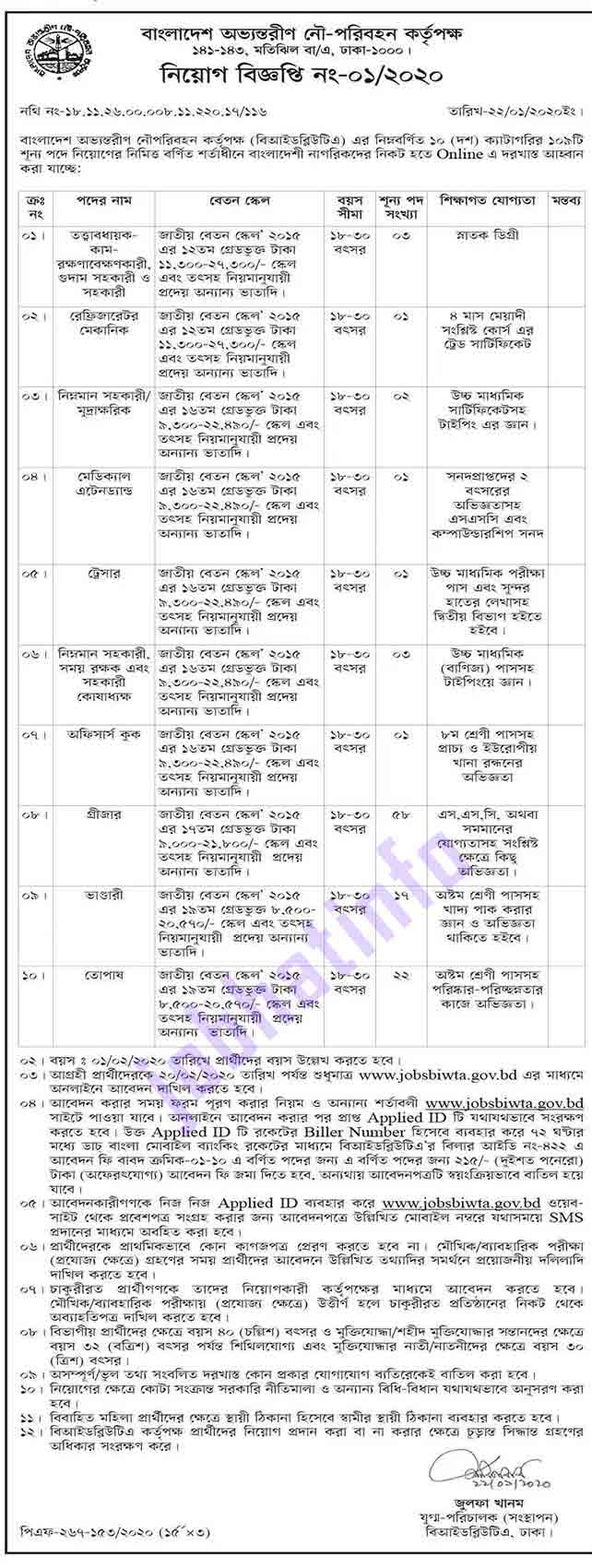 Bangladesh Inland Water Transport Authority Job Circular-2020 2