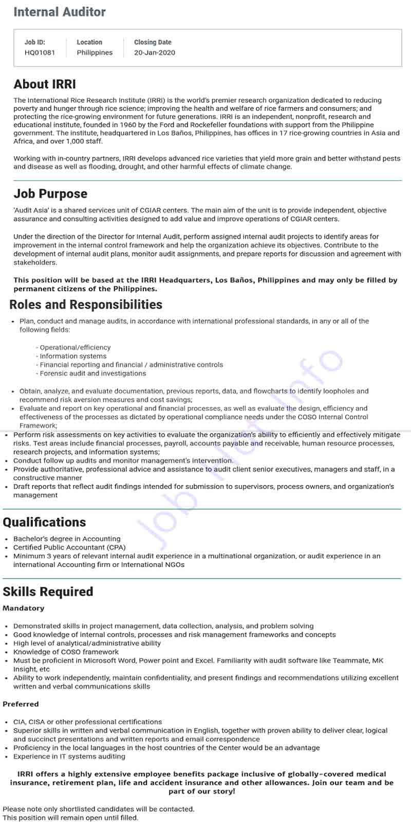 Internal Auditor Job at IRRI (Philippine) 1
