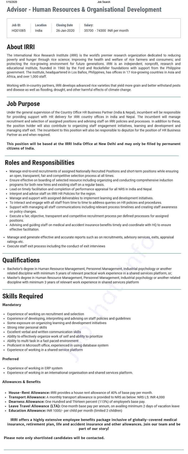 Adviser Job Circular at IRRI(Indian) 1
