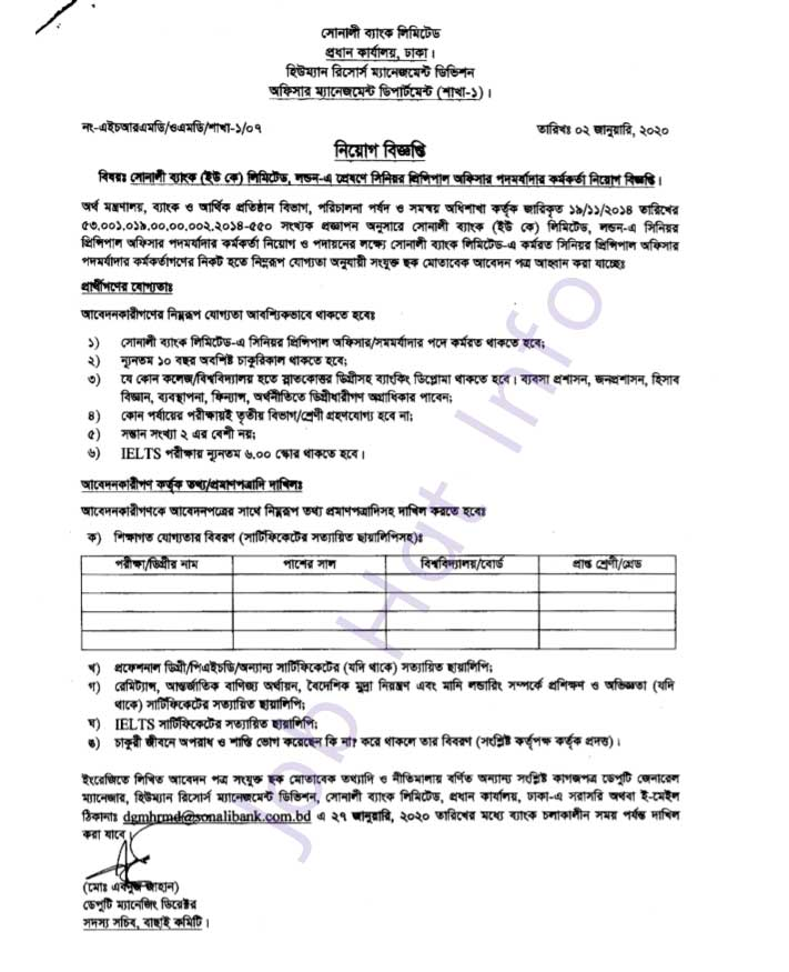 Sonali Bank(UK) Job Circular 2