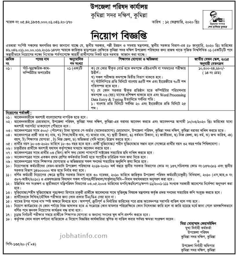 Upazila Parishad Job Circular-2020 1