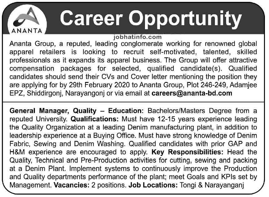 Ananta Group Job Circular-2020 1