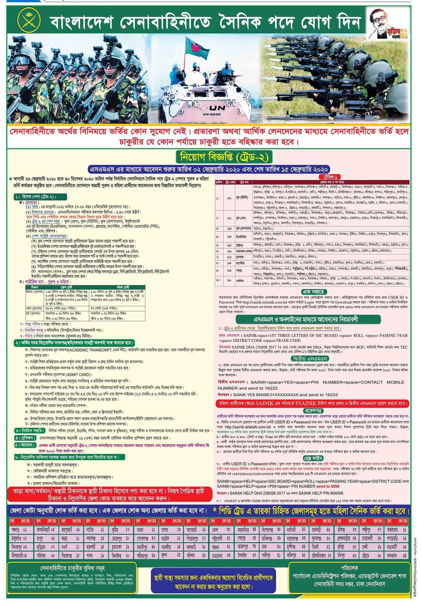 Bangladesh Army Job Circular 2020 2