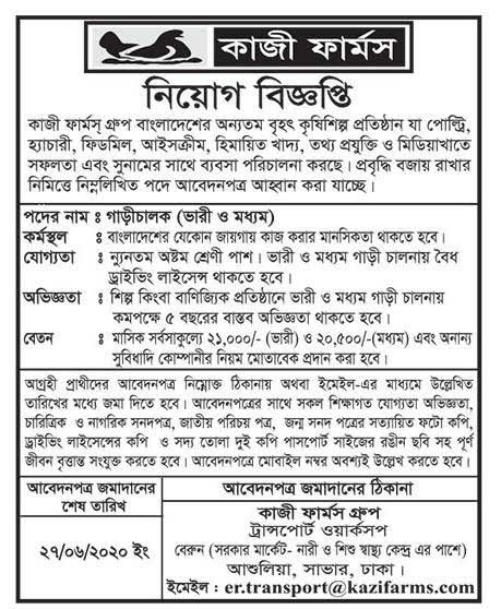 Kazi Farms Group Job Circular 2020 2