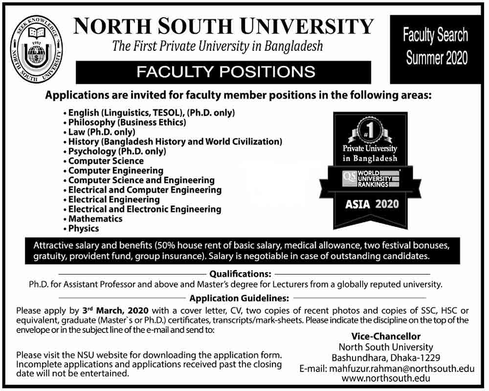 North-South University Job Circular 2