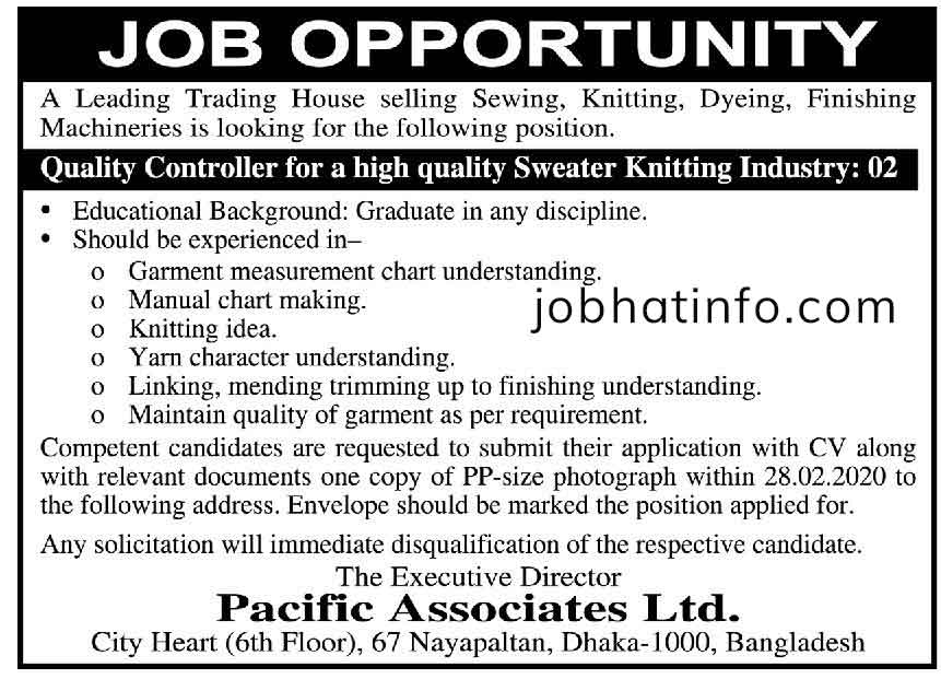 Pacific Associates Limited Job Circular 1