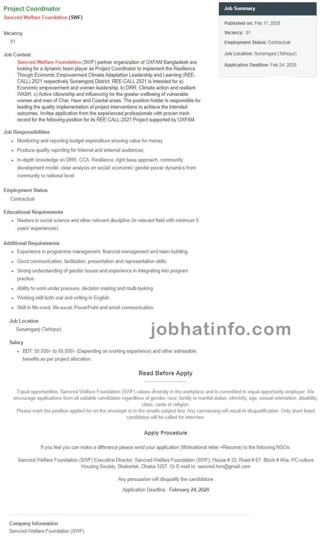 Sancred Welfare Foundation Job Circular 1