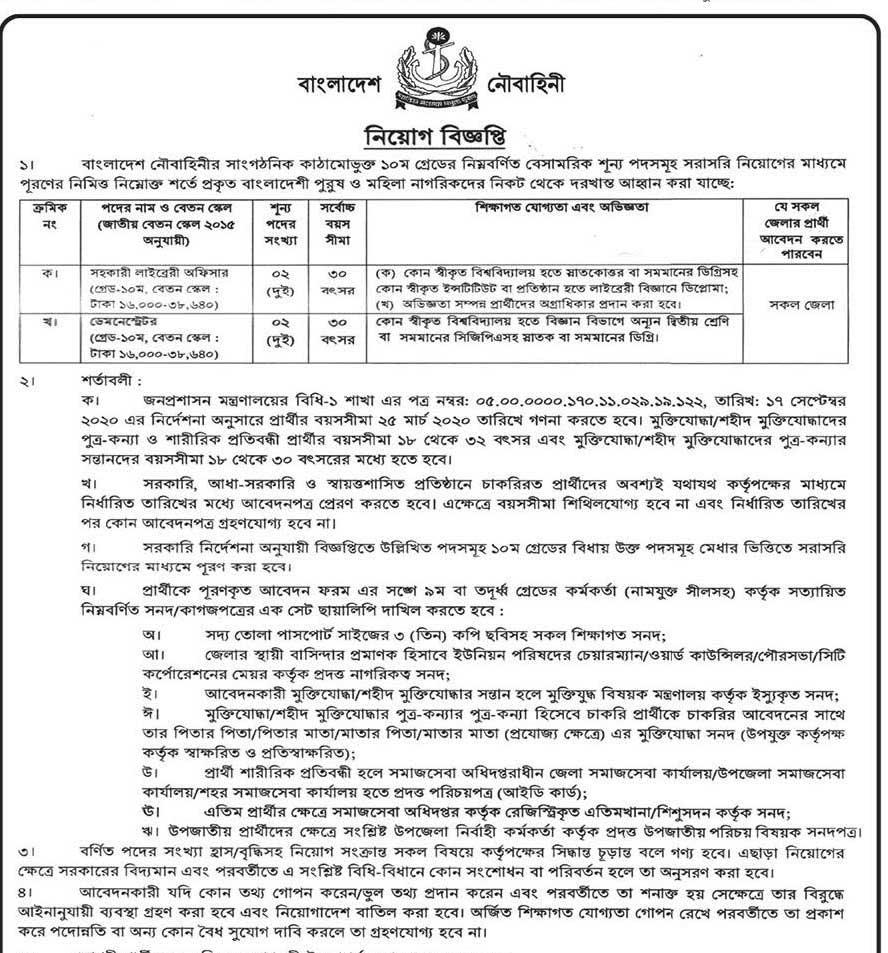 Navy Job Circular 2020 Apply online www.navy.mil.bd 1