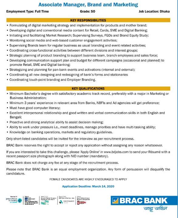 Brac Bank Job Circular 1