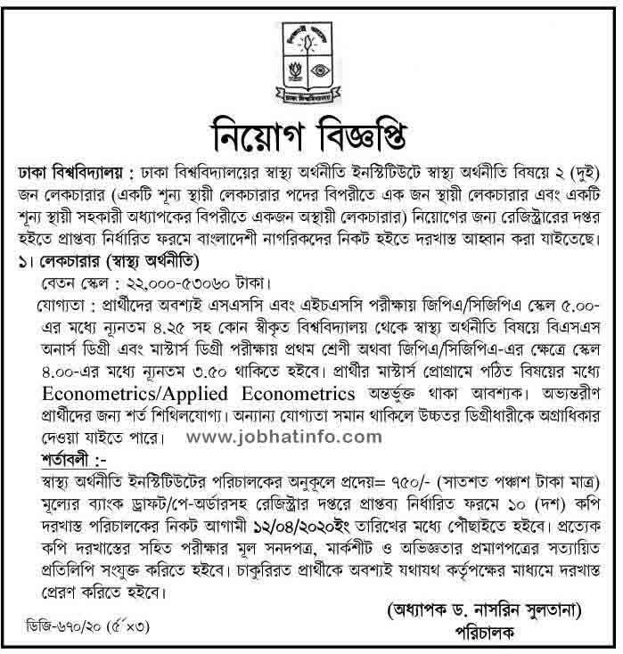 Job Circular at Dhaka University 1