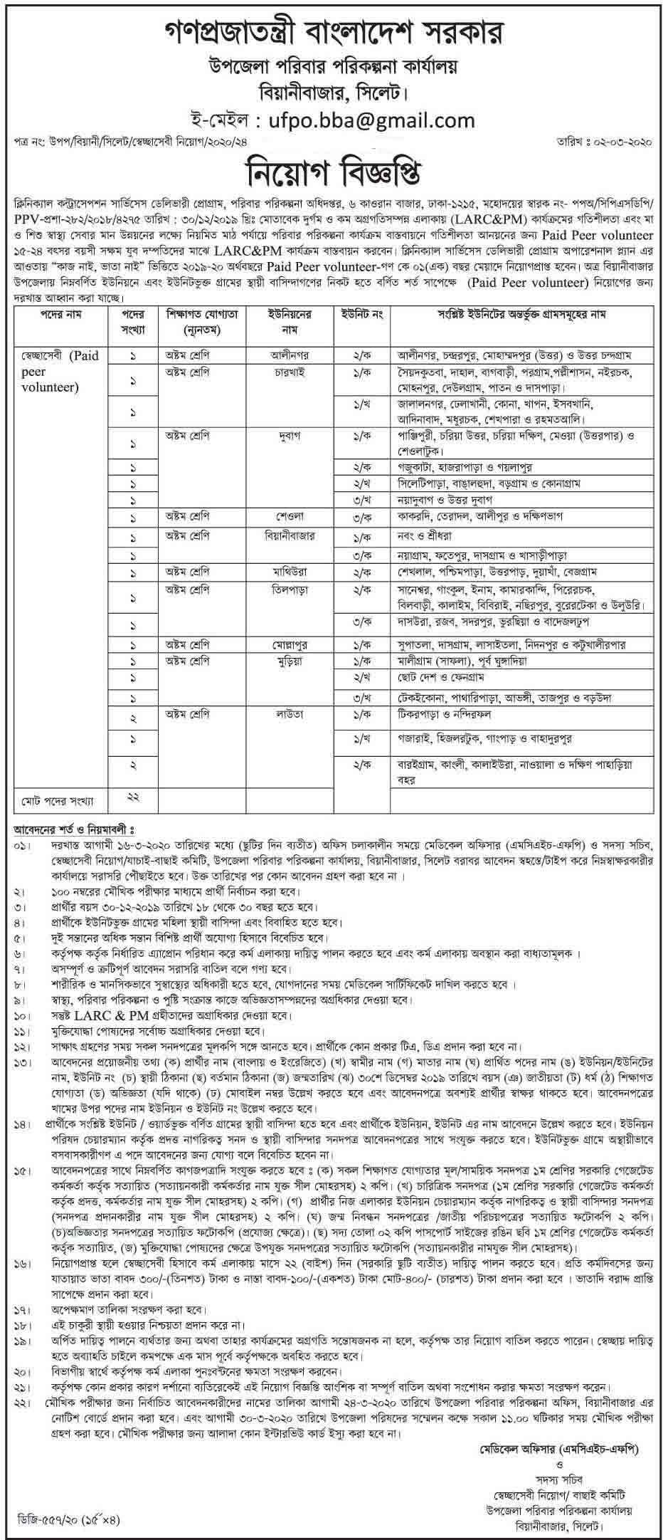 Upazila Family Planning Office Job Circular-2020 1