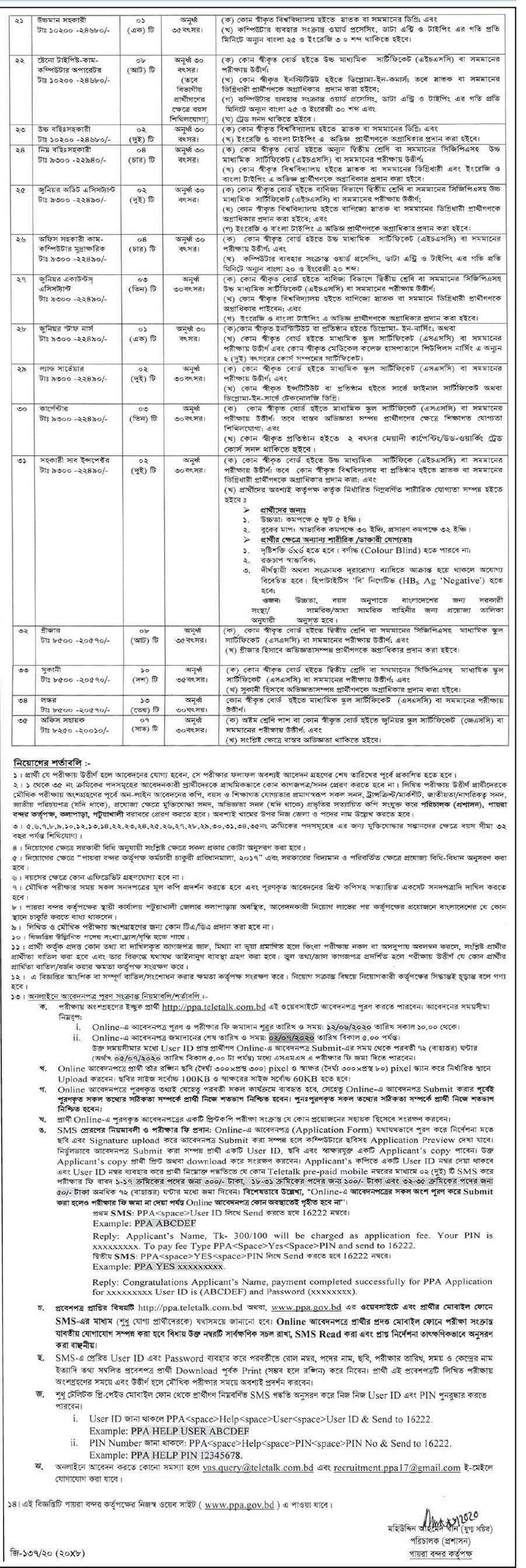 Payra Port Authority Job Circular-2020 2