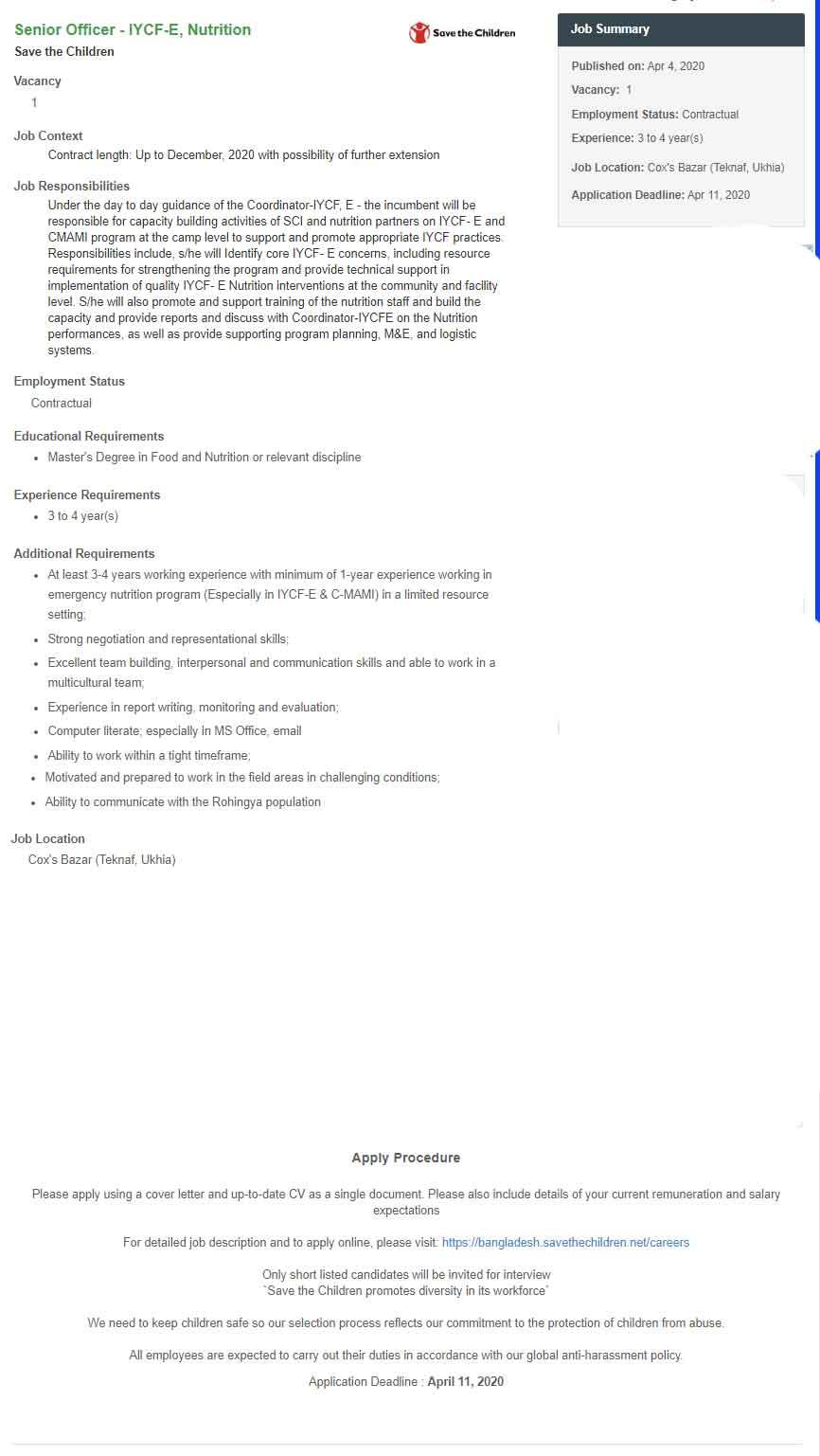 Save The Children Job Circular- 2020 1