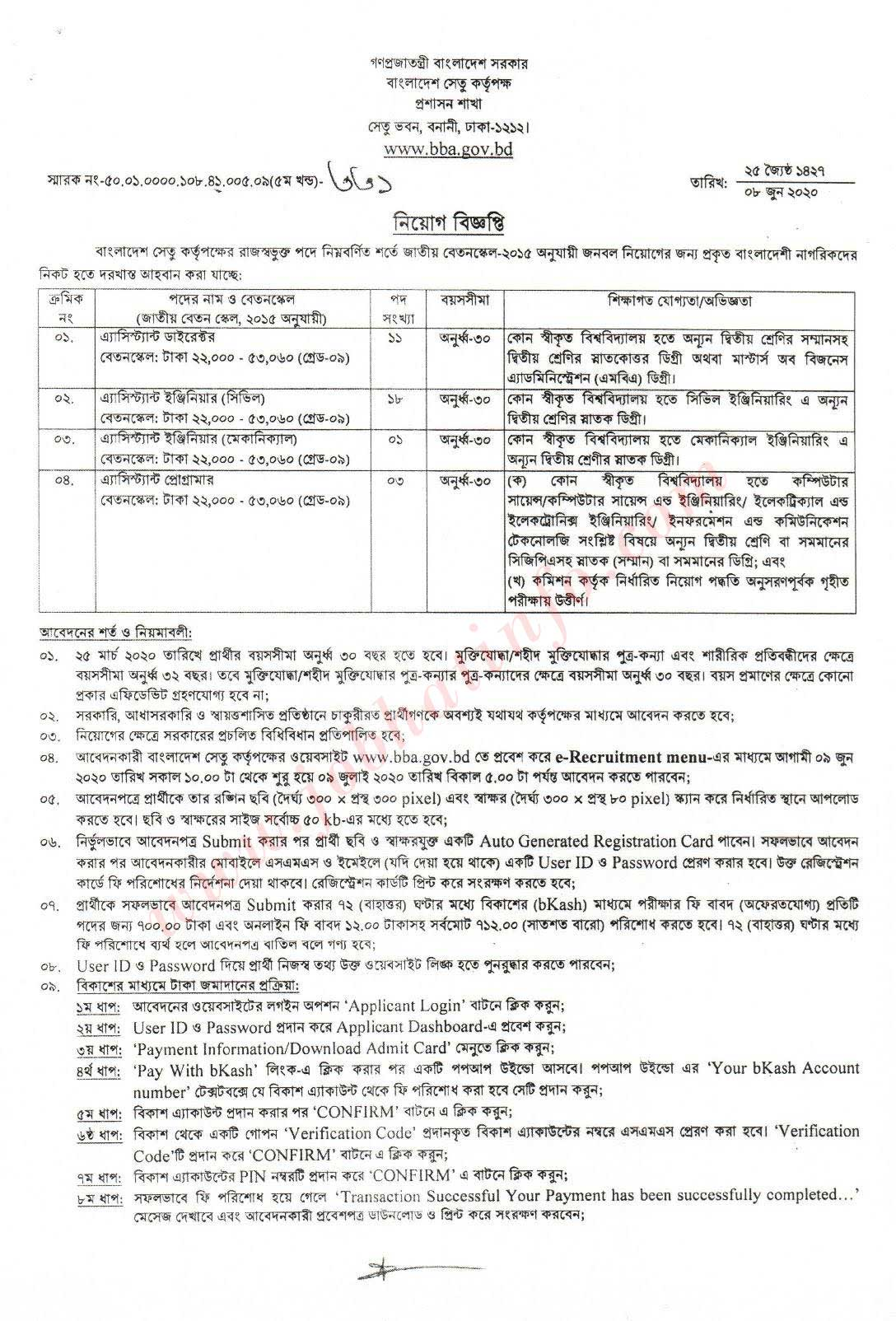 Bangladesh Bridge Authority Job Circular 2020.- bba.gov.bd 2