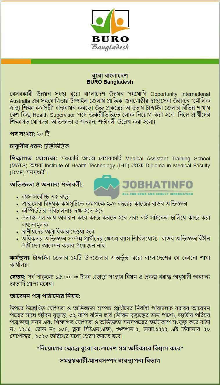 Buro Bangladesh Job Circular 2020 | Apply Today | NGO Job Circular 1