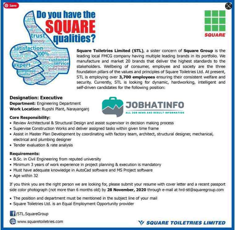 Square Toiletries Job Circular 2020 | Square Toiletries Limited | Company Job Circular 1