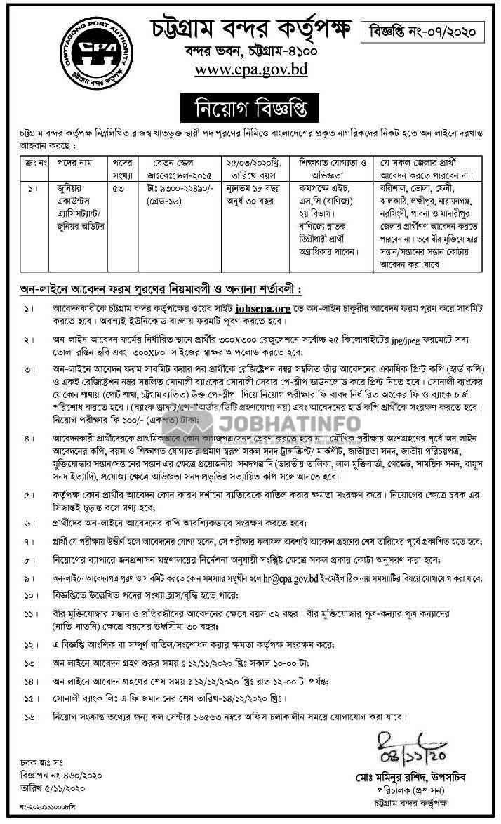 CPA Job Circular 2021 | Chittagong Port Authority Job Circular | Govt Job 1