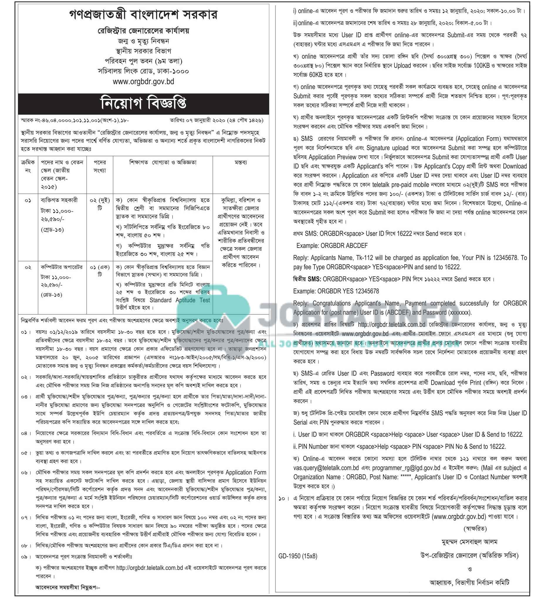 LGD Job Circular 2021 | Local Government Division | Govt Job 1