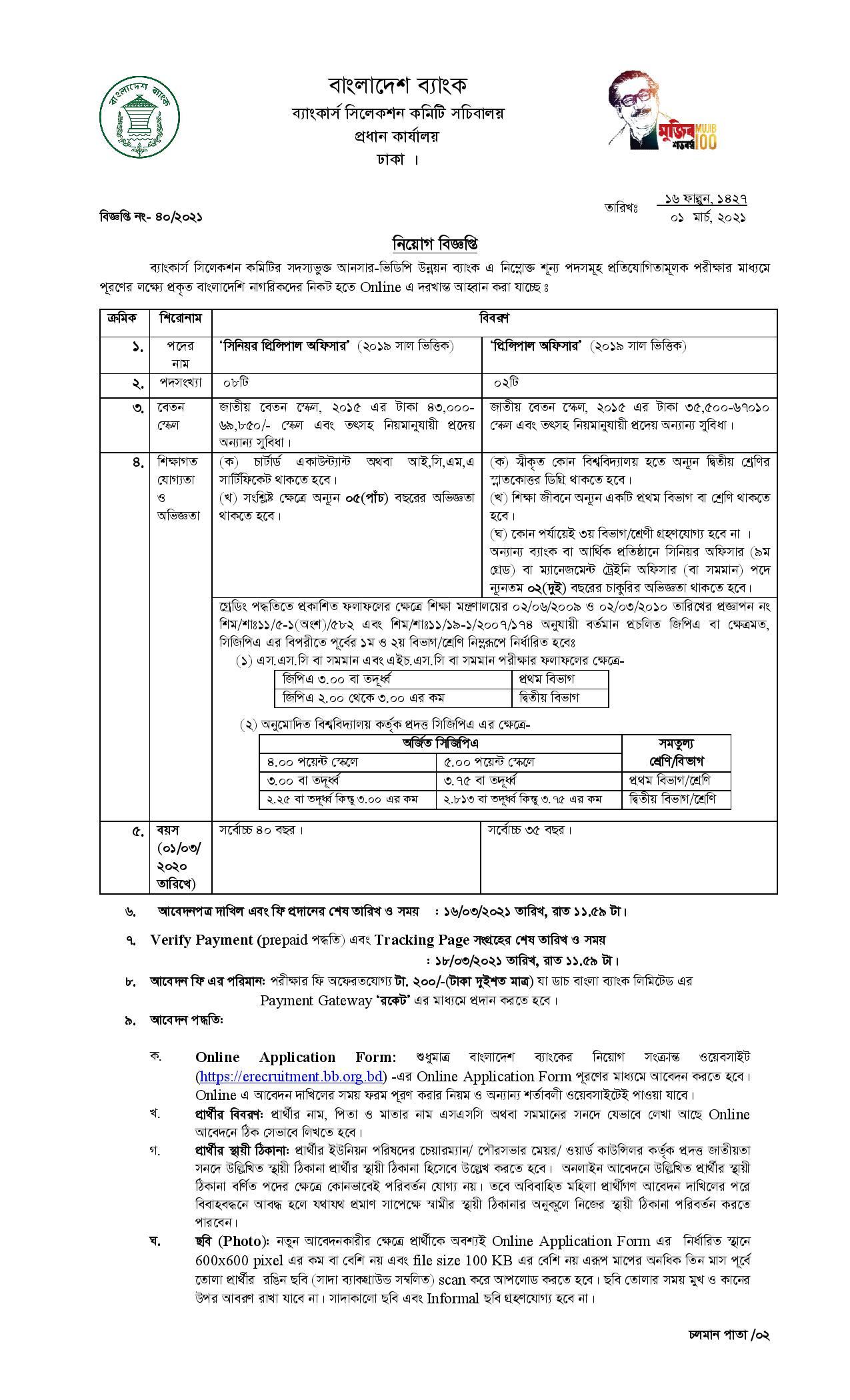 Ansar VDP Unnayan Bank Job Circular 2021 1