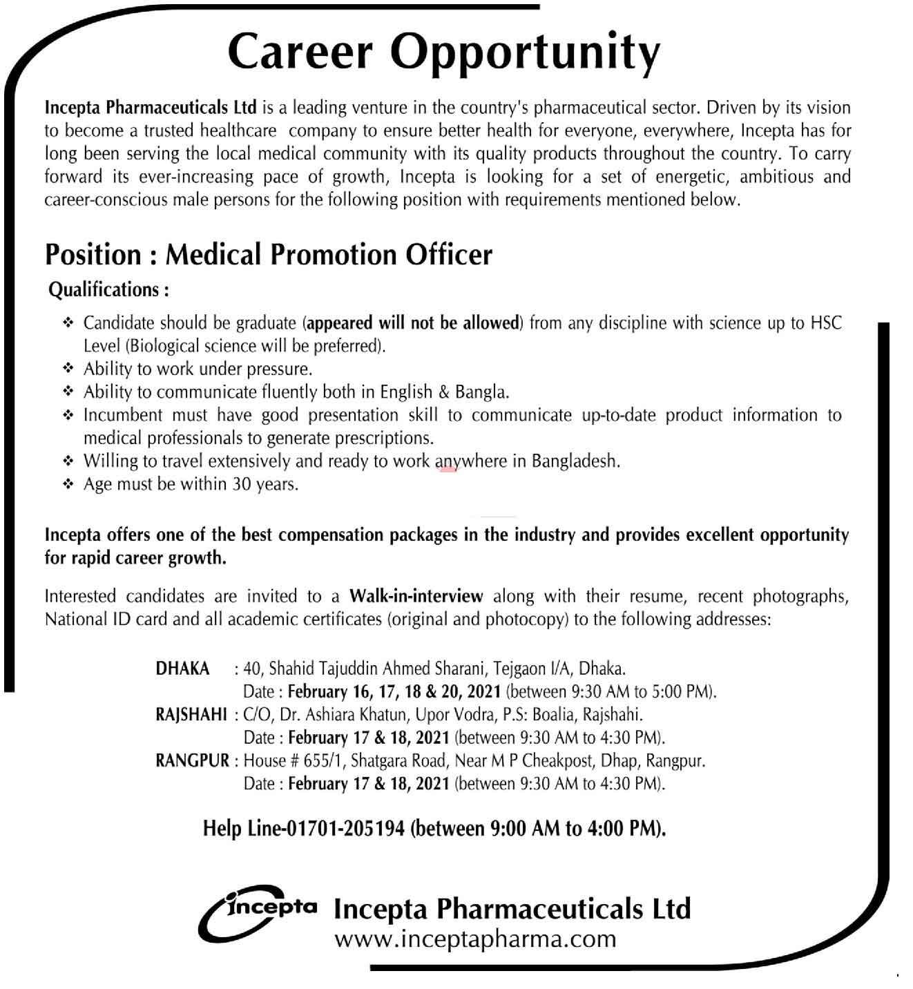 Incepta Pharmaceuticals job Circular