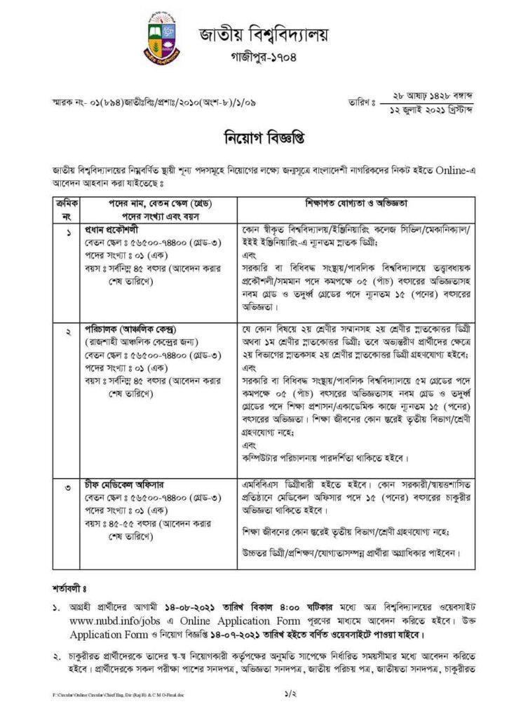 National University Job Circular 2021 | BD Govt Job 1